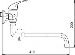 NOVASERVIS - Paneláková batéria bez príslušenstva 100 mm Metalia 55 chróm (55037/1,0), fotografie 2/2