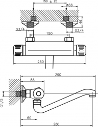 NOVASERVIS - Drezová termostatická batéria 150 mm Aquamat chróm (2670,0), fotografie 4/2