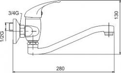 NOVASERVIS - Drezová batéria 100 mm lekárska páka Metalia 55 chróm (55074L,0), fotografie 2/2