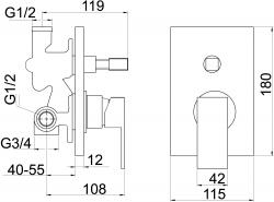 NOVASERVIS - Vaňová sprchová batéria s prepínačom SHARP chróm (37050R,0), fotografie 4/2