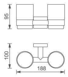NOVASERVIS - Dvojitý držiak zubných kefiek a pasty Titania Elis chróm (66457,0), fotografie 4/2