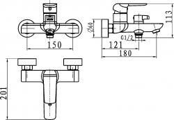 NOVASERVIS - Nástenná vanová batéria bez príslušenstva (38020/1,0), fotografie 4/2