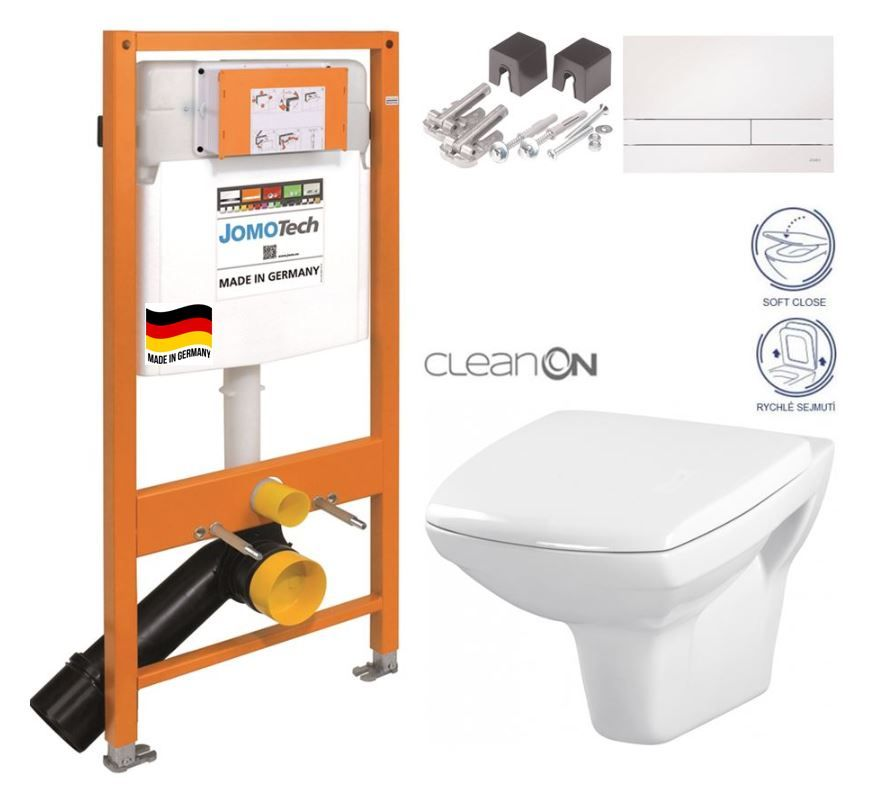 JOMOTech modul pre závesné WC s bielou doskou + WC CERSANIT CLEANON CARINA + SEDADLO 174-91100900-00 CA2
