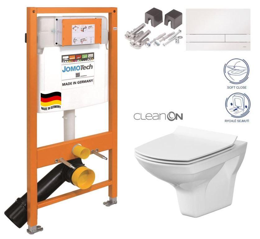 JOMOTech modul pre závesné WC s bielou doskou + WC CERSANIT CLEANON CARINA + SEDADLO 174-91100900-00 CA3