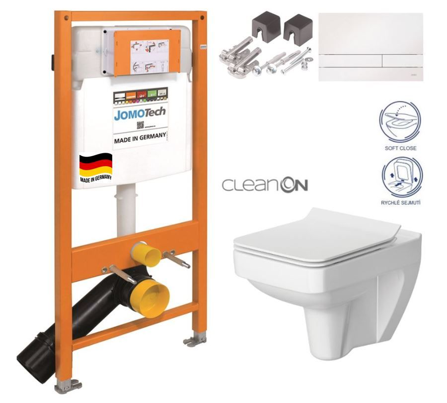 JOMOTech modul pre závesné WC s bielou doskou + WC CERSANIT CLEANON SPLENDOUR + SEDADLO 174-91100900-00 SP1