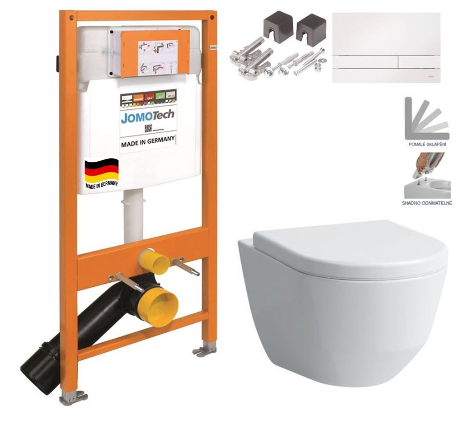 JOMOTech modul pre závesné WC s bielou doskou + WC LAUFEN PRO + SEDADLO 174-91100900-00 LP3