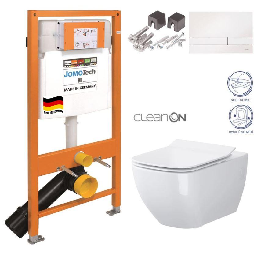 JOMOTech modul pre závesné WC s bielou doskou + WC CERSANIT VIRGO CLEANON + SEDADLO 174-91100900-00 ME1