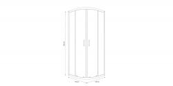 Sprchovací kút štvrťkruh 80 x190, R55, posuv, číre sklo (S154-001), fotografie 2/5