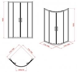 Sprchovací kút štvrťkruh 80 x190, R55, posuv, číre sklo (S154-001), fotografie 10/5