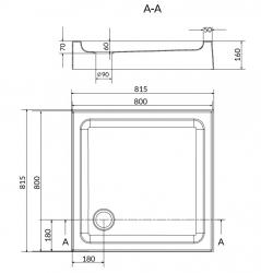 Sprchová vanička TAKO 80x16, štvorec, BUILT-IN-PANEL CW (S204-011), fotografie 4/2