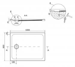 Sprchová vanička TAKO 100x80x4, obdĺžnik CW (S204-019), fotografie 4/2