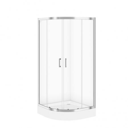Sprchovací kút BASIC štvrťkruh 80x185, posuv, číre sklo (S158-003)
