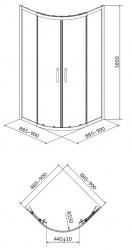 Sprchovací kút BASIC štvrťkruh 90x185, posuv, číre sklo (S158-005), fotografie 4/2