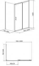 Sprchovací kút BASIC obdĺžnik 100x80x185, posuv, číre sklo (S158-006), fotografie 4/2