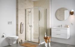 Sprchovací kút BASIC obdĺžnik 100x80x185, posuv, číre sklo (S158-006), fotografie 2/2