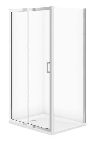 Sprchovací kút BASIC obdĺžnik 100x80x185, posuv, číre sklo (S158-006)