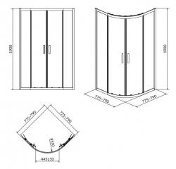 Sprchovací kút ARTECO štvrťkruh 80x190, posuv, číre sklo (S157-001), fotografie 6/4