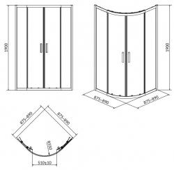 Sprchovací kút ARTECO štvrťkruh 90x190, posuv, číre sklo (S157-002), fotografie 8/4