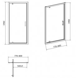 Sprchové dvere ARTECO 80x190, kývne, číre sklo (S157-007), fotografie 6/3
