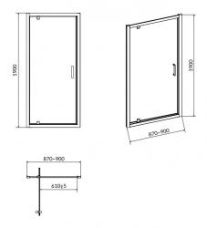 Sprchové dveře ARTECO 90x190, kyvné, čiré sklo (S157-008), fotografie 6/3