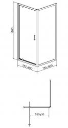 Sprchovací kút ARTECO štvorec 80x190, kyvný, číre sklo (S157-009), fotografie 4/2