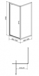 Sprchovací kút ARTECO štvorec 90x190, kyvný, číre sklo (S157-010), fotografie 4/2