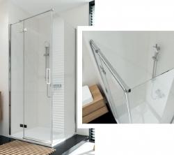 Sprchovací kút JOTA štvorec 90x195, kyvný, ľavý, číre sklo (S160-001), fotografie 2/9