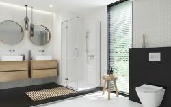 Sprchovací kút JOTA štvorec 90x195, kyvný, ľavý, číre sklo (S160-001), fotografie 12/9
