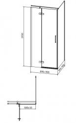 Sprchovací kút JOTA štvorec 90x195, kyvný, ľavý, číre sklo (S160-001), fotografie 18/9