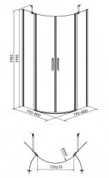 Sprchovací kút MODUO štvrťkruh 80x195, kývne, číre sklo (S162-009), fotografie 2/7