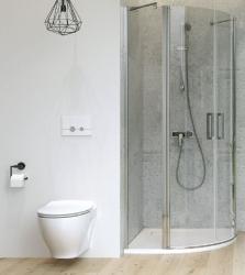 Sprchovací kút MODUO štvrťkruh 80x195, kývne, číre sklo (S162-009), fotografie 4/7