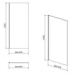 Sprchová pevná bočná stena MODUO 90x195, číre sklo (S162-008), fotografie 4/2
