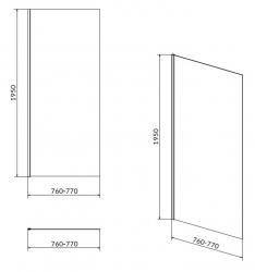 Sprchová pevná bočná stena MODUO 80x195, číre sklo (S162-007), fotografie 4/2