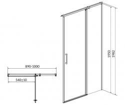 Kyvné dvere s pevným poľom MODUO 90x195, pravé, číre sklo (S162-006), fotografie 10/5