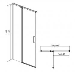Kyvné dvere s pevným poľom MODUO 90x195, ľavé, číre sklo (S162-005), fotografie 10/5