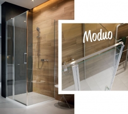 Kyvné dvere s pevným poľom MODUO 90x195, ľavé, číre sklo (S162-005), fotografie 4/5