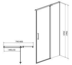 Kyvné dvere s pevným poľom MODUO 80x195, pravé, číre sklo (S162-004), fotografie 10/5