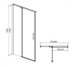 Kyvné dvere s pevným poľom MODUO 80x195, ľavé, číre sklo (S162-003), fotografie 10/5