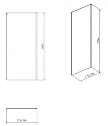 Bočná stena k posuvným dverám CREA 80x200, číre sklo (S900-2613), fotografie 4/2