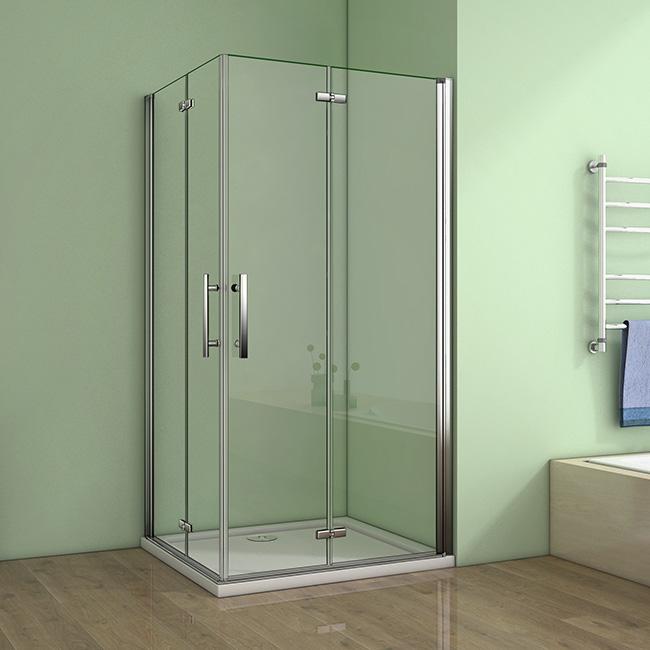 H K - Čtvercový sprchový kout MELODY R909, 90x90 cm se zalamovacími dveřmi včetně sprchové vaničky z litého mramoru (SE-MELODYR909/SE-ROCKY-90 SQ)