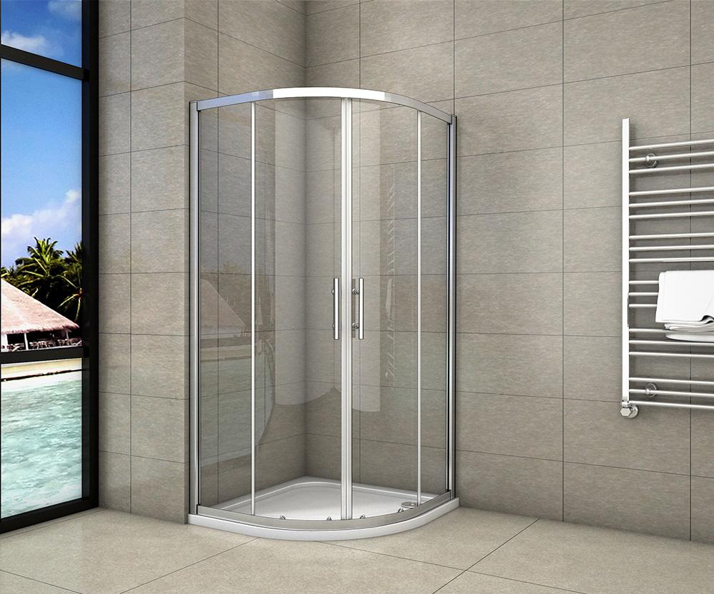 H K - Čtvrtkruhový sprchový kout SYMPHONY S4 80 cm s dvoudílnými posuvnými dveřmi včetně sprchové vaničky z litého mramoru (SE-SYMPHONYS480/THOR-80Q)