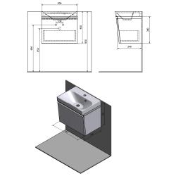 SAPHO - MELODY umývadlová skrinka 50x38x34cm s umývadlom JOY 50cm, biela (56050-SET), fotografie 2/6