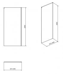 Bočná stena k posuvným dverám CREA 90x200, číre sklo (S900-2614), fotografie 4/2
