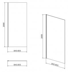 Bočná stena CREA 90x200 pre kyvné dvere, číre sklo (S159-010), fotografie 4/2