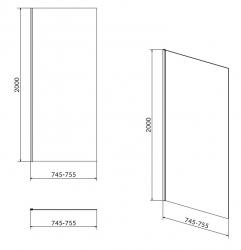 Bočná stena CREA 80x200 pre kyvné dvere, číre sklo (S159-009), fotografie 4/2