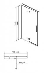 Sprchové dvere s pántami CREA 100x200, ľavé, číre sklo (S159-001), fotografie 14/7