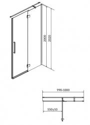 Sprchové dvere s pántami CREA 100x200, pravé, číre sklo (S159-002), fotografie 12/6