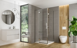 Sprchové dvere s pántami CREA 100x200, pravé, číre sklo (S159-002), fotografie 6/6