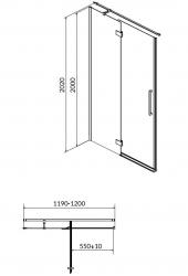 Sprchové dvere s pántami CREA 120x200, ľavé, číre sklo (S159-003), fotografie 18/9