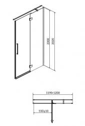 Sprchové dvere s pántami CREA 120x200, pravé, číre sklo (S159-004), fotografie 18/9